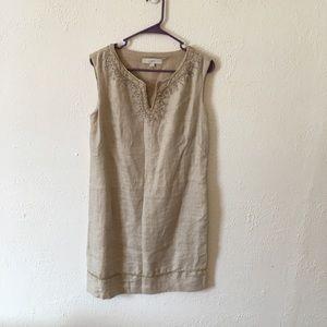 LOFT beige tweed embroidered midi shift dress 6